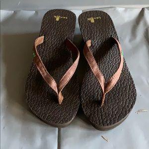 Sanuk Brown Wedge Flip Flops
